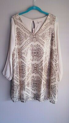 c7fb90a5ee6aa Tunic Dress Gianni Bini Sequin Slit Sleeve Cream Rose Gold SZ XS NEW