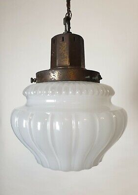 Large Opaque Ceiling Light With Distressed Bronzed Gallery, Rewired