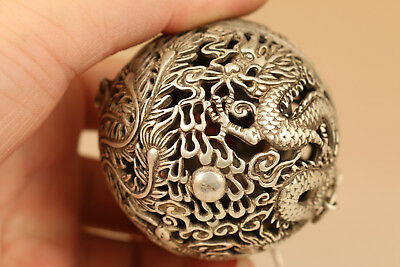 chinese old tibet silver hand carving dragon incense burner buddha pendant