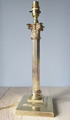 C1910 Corinthian Column Brass Table Lamp, Rewired And Pat Tested