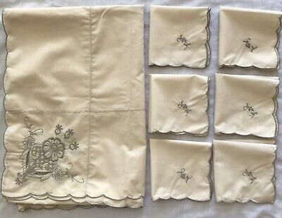 Vintage Tablecoth and 6 Napkin Set Ivory Embroidered Gray Floral Scalloped Edge