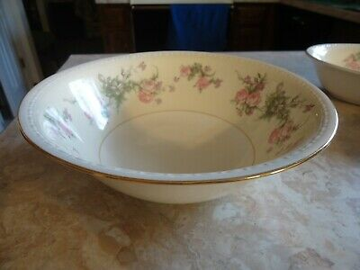 "Homer Laughlin Eggshell 1947 "" Pink Rose"" 8 3/4"" Round Vegetable Bowl with Gold"