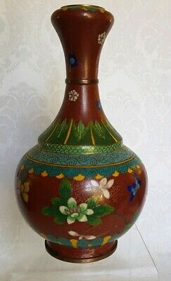 ANTIQUE CHINESE Cloisonne Vase Enamel on Bronze MANY FLOWERS ON RED, NICE SHAPE