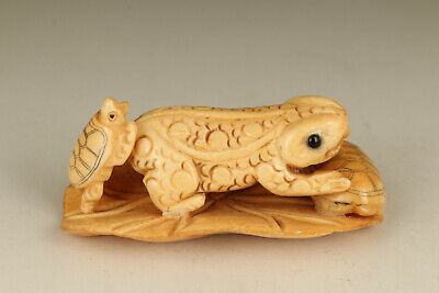 Asian old hand carving god turtle statue figue netsuke table decoration gift