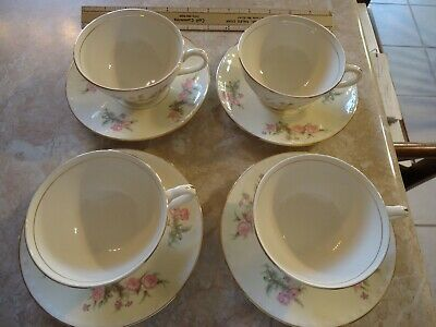 "Homer Laughlin Eggshell 1947 ""Pink Rose"" set of 4 Cups and Saucers"