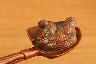chinese old boxwood hand carved cock statue figure netsuke collectable