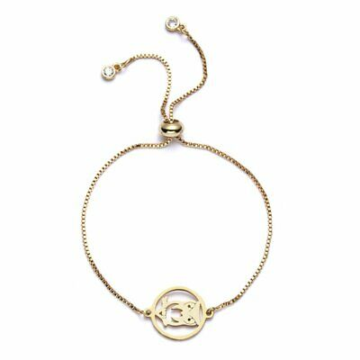 Gold Stainless Steel Hollow Owl Animal Bangle Adjustable Chain Bracelet Jewelry