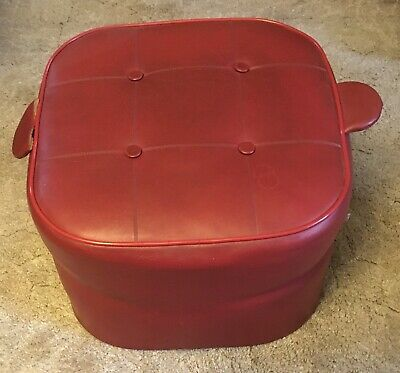 Retro Vinyl Red Foot Stool Pouffe Miss Muffet Square Shaped