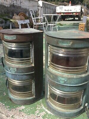 Ships Large Pair  Original Brass Port & Starboard Lamps Glasgow Untouched
