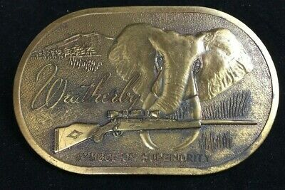 Vtg 1973 Weatherby Hunting Rifle Elephant Belt Buckle Solid Brass Firearm Magnum