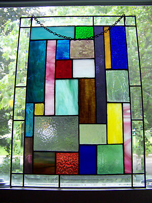 Stained Glass Panel Window Tiffany Style Suncatcher Mission Craftsman HANDMADE