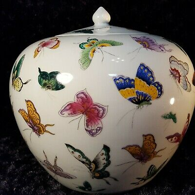 "Vtg 10"" Chinese Porcelain Lidded GINGER JAR w/ Hand Painted BUTTERFLIES Marked"