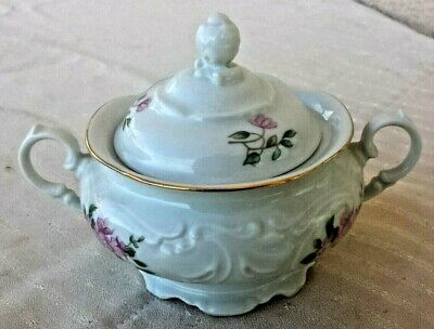 Vintage ~ Wawel ~ Rose Floral Porcelain China Sugar Bowl Gold Trim Poland 4""