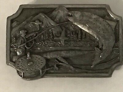 Vintage 1983 Siskiyou Pewter Belt Buckle Fishermen Fly Fishing Sportsman Trout