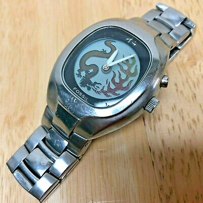 Vintage Fossil Men Animated Chinese Dragon Analog Quartz Watch Hours~New Battery