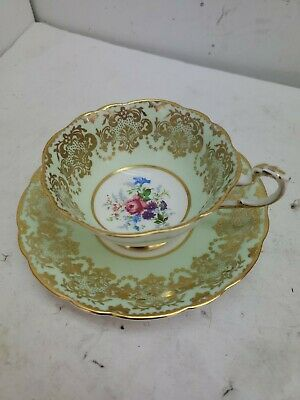 Vintage Paragon Teacup & Saucer Green Gilt Gold Rose - Excellent England