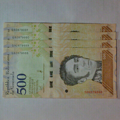 VENEZUELA BOLIVARES SET 500x4 Soberanos NEW UNC LOT PCS + Worldwide Free Shippin