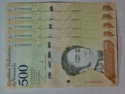 VENEZUELA BOLIVARES SET 500x5 Soberanos NEW UNC LOT PCS + Worldwide Free Shippin