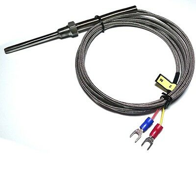 """K Type Thermocouple Probe High Temperature Sensors with 1/8"""" NPT Threads ( 2m)"""