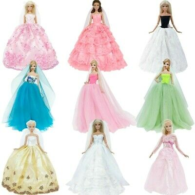 Doll Wedding Dress Bridge Veil Handmade Princess Gown Party Clothes for 11.5-12""