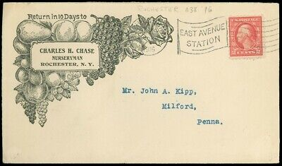 1916 ROCHESTER NY, CHARLES H CHASE NURSERYMAN, Advert Cover, GRAPES, FRUIT, RPO!