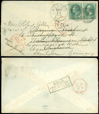 1879 BOSTON CDS, to LONDON, Forwarded to Germany, Overpaying 5¢ Rate! #184 Pair!