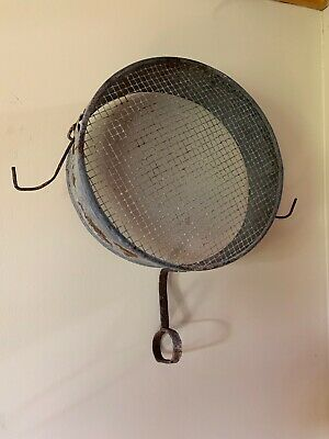 Antique Country Primitive Large Rustic Metal Grain Sifter W/ Hooks Rusty