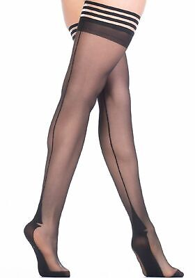 Femme Fatale Seamed Patterned Hold Up Stockings Nylons Hosiery 20 Denier