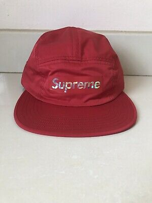 f7930872 Supreme Holographic Camp Cap White Ss19 2019 Hat Red Yellow Black Box Logo  Cdg