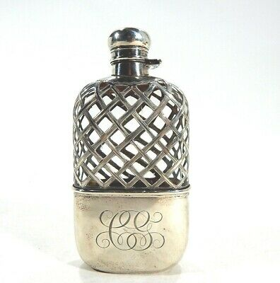 Wonderful Antique Sterling Silver Overlay Flask w/ Hinged Stopper