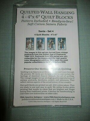 """Quilted Wall Hanging 4- 4""""X6"""" Quilt Blocks - Santa Set 4 - Vintage Christmas"""
