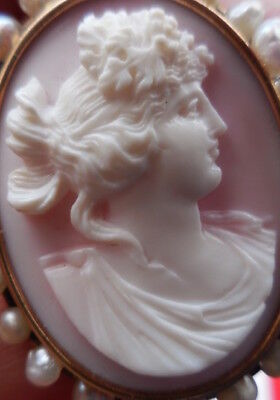 Antique Cameo Pin Pendant 14K Rose Gold Pearl Carved Shell Estate Jewelry 1928