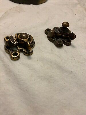 Pair Of Antique Victorian Brass Window Sash Locks Dated 1887, Slightly Different