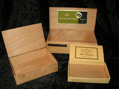 3 Vintage Cigar Boxes-Ritmeester ~ Willem 11    Wooden