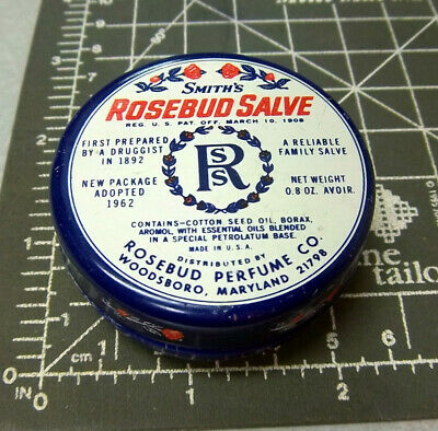 Vintage smiths ROSEBUD SALVE 1/2 oz tin (empty), great colors & graphics