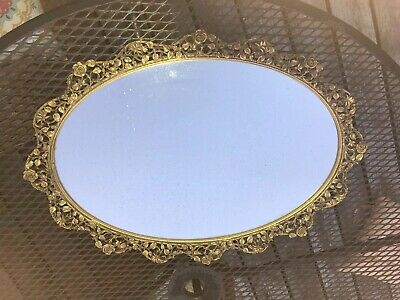 Matson Hollywood Regency ORMOLU Oval VANITY TRAY  MIRROR - Roses 21x15""