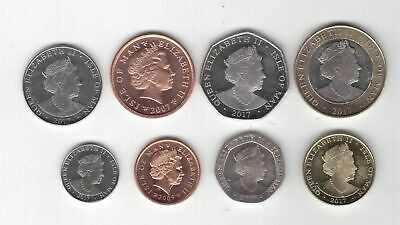 Isle Of Man: 8 Piece Uncirculated Coin Set, 0.01 To 2 Pounds