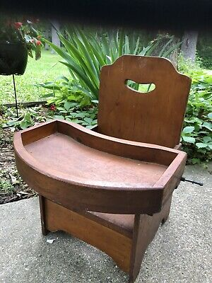 Antique Childs Potty Chair Handmade Wood And Metal