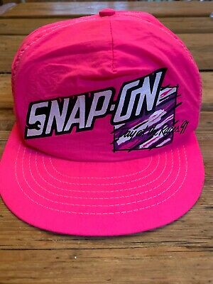 Vintage 90s Snap-On Day At The Races 91' Snapback Hot Pink Fluorescent Cap