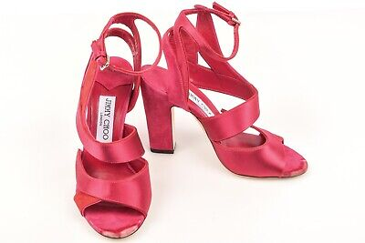 a7a3d662010 Jimmy Choo Falcon pink red 6.5 36.5 satin suede ankle strap sandal shoe NEW  $925