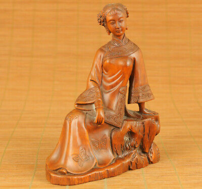 Rare Asian old boxwood hand carving long plaits lady statue figue home ornament