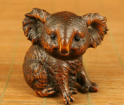 Rare old boxwood hand carved koala statue netsuke collectable home deco gift