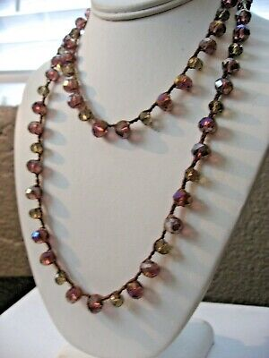 "Old Soul Jewelry Necklace Plum Prism Crystal Sparkly 38""  Waxed Linen NWT $110"