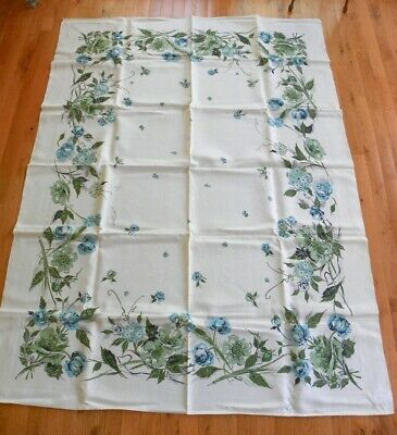 Nos Vintage Leacock 50'S Linen Table Cloth & 6 Napkins, 52 X 70, Turquoise Green