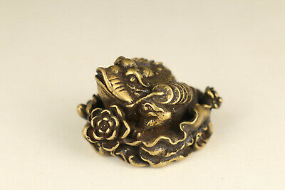 rare old copper hand carving fortune jin chan statue figue netsuke