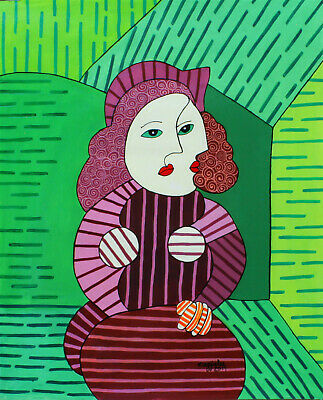 Original Painting Acrylic PICASSO Portrait Fine Art Realism Abstract  People