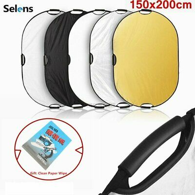 """200x150cm 5in1 Photography Oval Light Reflector Collapsible Photo Studio 79x59"""""""