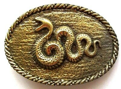 Vintage COBRA VIPER BOA SNAKE Brass Plated Oval Belt Buckle Limited Edition