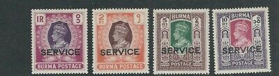 BURMA 1946 KGVI OFFICIALS (Scott O39-O42 4 high values only) VF MLH