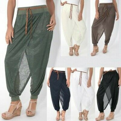 Donna Boho Pantaloni Harem Larghi Avvolgente Genio Estate Leggings Casual